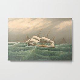Sailing Ship off Cape Horn - Vintage Nautical Print, 1877 Metal Print