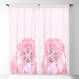 Lion Chewing Bubble Gum in Pink Blackout Curtain