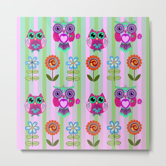Fantasy summer flowers and owls on a striped background, pattern design Metal Print