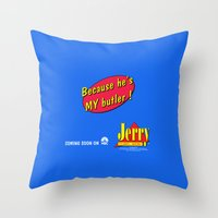 seinfeld Throw Pillows featuring SEINFELD - Jerry, soon on NBC by La Cantina