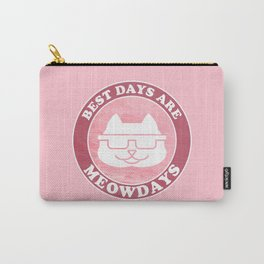 """""""Best Days are Meowdays"""" Retro Cool Fat Sunglasses Cat for Cat Lovers - Pastel Pink Carry-All Pouch"""