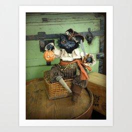 Rucus Studio Halloween Pirate Cat Art Print