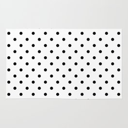 Classic Large Black Polkadot on White Rug
