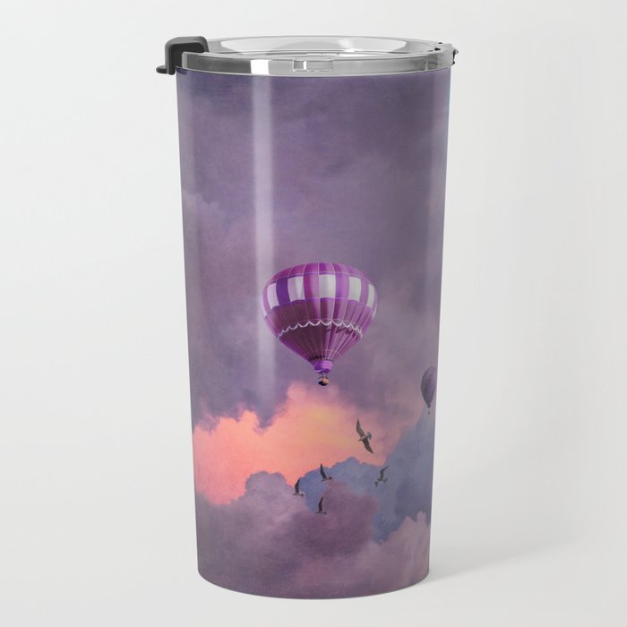 Blue, Pink, and Purple Hot Air Balloons on Pastel Clouds Travel Mug