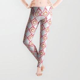 Fiery Coral - aztec watercolour pattern Leggings