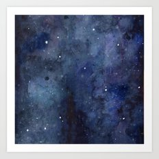 Galaxy Nebula Watercolor Night Sky Stars Outer Space Blue Texture Art Print