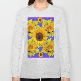 Golden Sunflower Pattern Floral Purple Shades Long Sleeve T-shirt