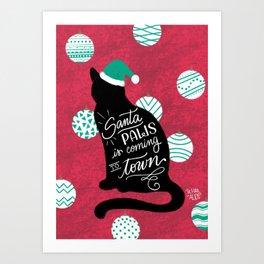 Santa Paws - Cat version Art Print