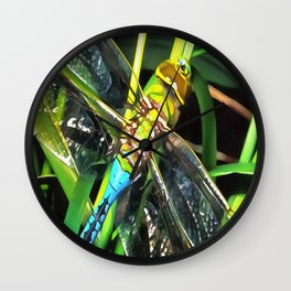 Blue Dragonfly Wings Wall Clock