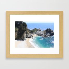 Julia Pfeiffer Burns State Park Beach and Waterfall Framed Art Print