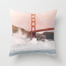 Baker Beach, Golden Gate Bridge Throw Pillow