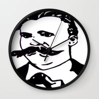 nietzsche Wall Clocks featuring  Friedrich Nietzsche Portrait Black and White Modern Art hand done  by The Odd Portrait