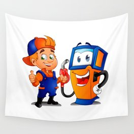 Serviceman with gas pump Wall Tapestry