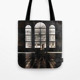 Woman in black dress Tote Bag