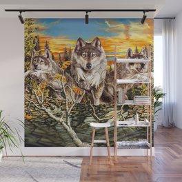Pack of wolvesrunning Wall Mural