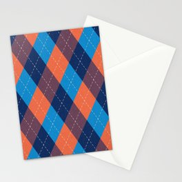Argyle diamond pattern - coral orange, sky blue, marine blue tones Stationery Cards