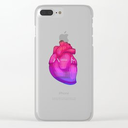Aesthetic Heart Vaporwave Heart with japanese Text Clear iPhone Case