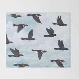 red-winged blackbirds and blue sky Throw Blanket