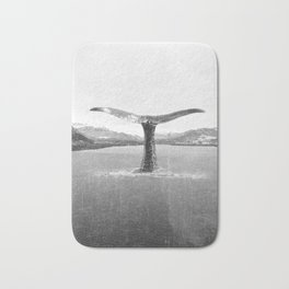Whale In A French Lake in Black And White Bath Mat