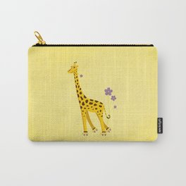 Yellow Funny Roller Skating Giraffe Carry-All Pouch