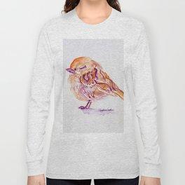 Little Purple Brown Sparrow watercolor by CheyAnne Sexton Long Sleeve T-shirt