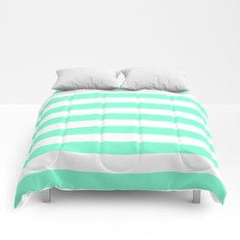 Horizontal Stripes (Aquamarine/White) Comforters
