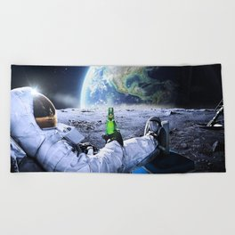 Astronaut on the Moon with beer Beach Towel