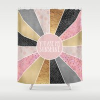 you are my sunshine Shower Curtains featuring You are my sunshine by Elisabeth Fredriksson