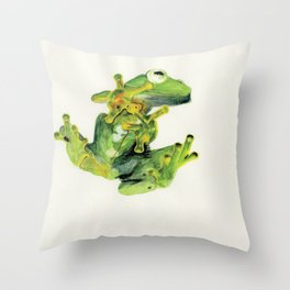 Frog on Glass Throw Pillow