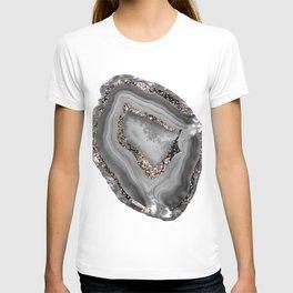Gray Agate Rose Gold Glitter Glam #1 #gem #decor #art #society6 T-shirt
