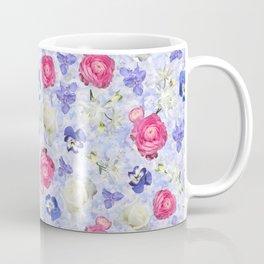 Rose Ranunculus Pansy Flowers over Pale Blue Coffee Mug