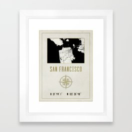 San Francisco - Vintage Map and Location Framed Art Print