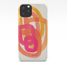 Funky Retro 70' Style Pattern Orange Pink Greindent Striped Circles Mid Century Colorful Pop Art iPhone Case