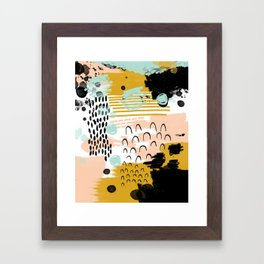 Ames - Abstract painting in free style with modern colors navy gold blush white mint Framed Art Print