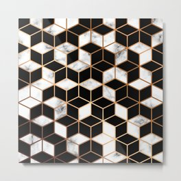 Marble Cubes With Gold Geometric Lines Metal Print