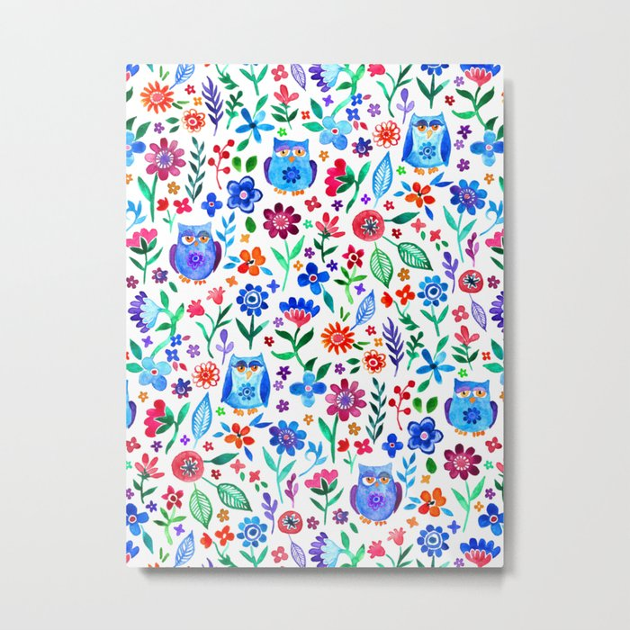 Little Owls and Flowers on White Metal Print