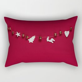 Christmas Decorations on Red (Color) Rectangular Pillow