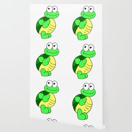 Drawn by hand a funny little turtle for children and adults Wallpaper
