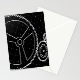 Set of white gears and cogs on virtual screen Stationery Cards