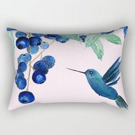 blueberry and humming bird Rectangular Pillow