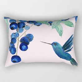 blueberry and humming bird Rectangular Pillow