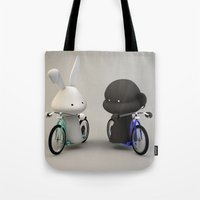 bikes Tote Bags featuring bikes by coffee & fried chicken