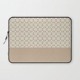 Pantone Cannoli Cream Square Petal Pattern on Pantone Hazelnut Laptop Sleeve