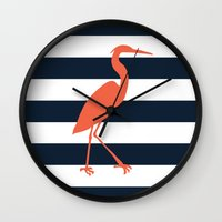 crane Wall Clocks featuring Crane by Gathered Nest Designs