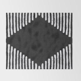Diamond Stripe Geometric Block Print in Black and White Throw Blanket