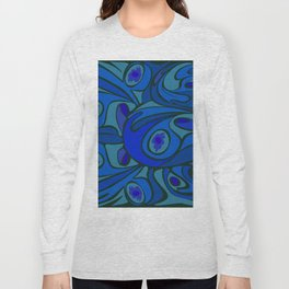 Rooster in Dark Blue/Green Long Sleeve T-shirt