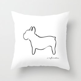 Abstract Frenchie, French Bulldog Dog Line Drawing Throw Pillow