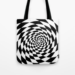 Optical Illusion Op Art Black and White Retro Style Tote Bag