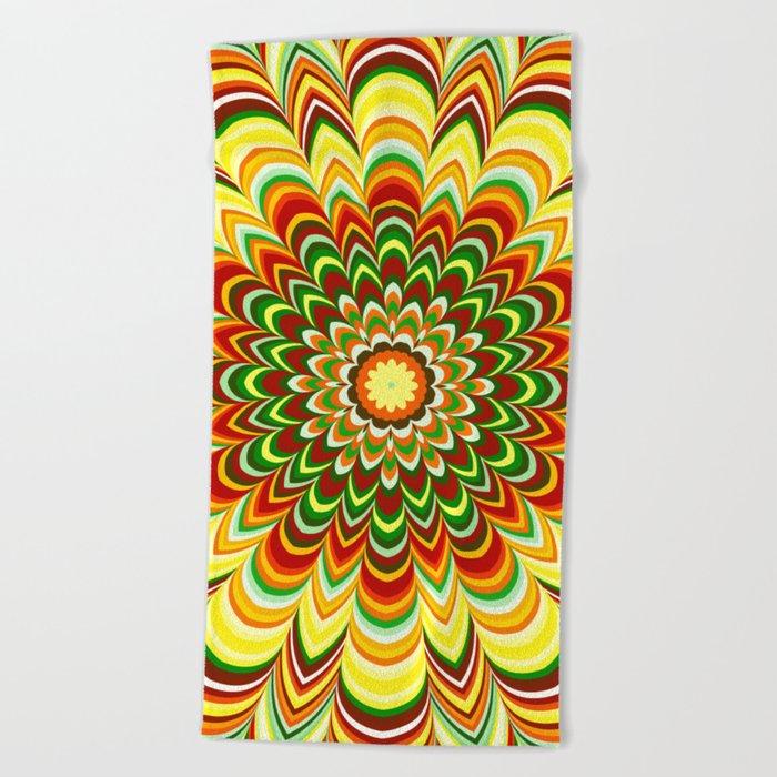 Colorful flower striped mandala Beach Towel