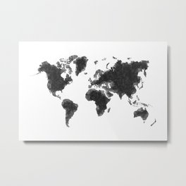 World Map Black Sketch, Map Of The World, Wall Art Poster, Wall Decal, Earth Atlas, Geography Map Metal Print